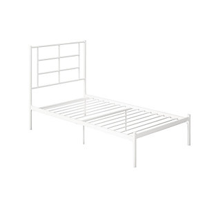 Atwater Living Coralie Metal Bed, White, Twin, White, large