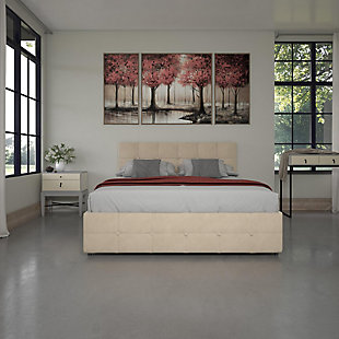 Atwater Living Ryder Ivory Velvet Upholstered Bed w/storage, Full, , rollover