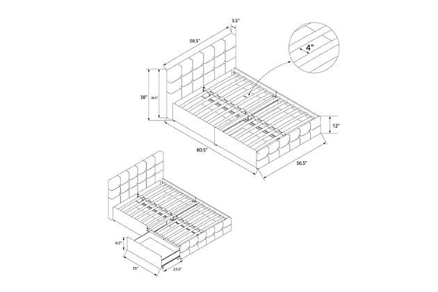 Atwater Living Ryder Ivory Velvet Upholstered Bed w/storage, Full, , large