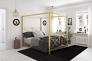Atwater Living Reese Canopy Bed, Full, Gold, Gold, rollover