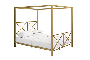 Atwater Living Reese Canopy Bed, Full, Gold, Gold, large