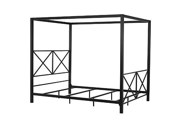 Atwater Living Reese Canopy Bed, Full, Black, Black, large