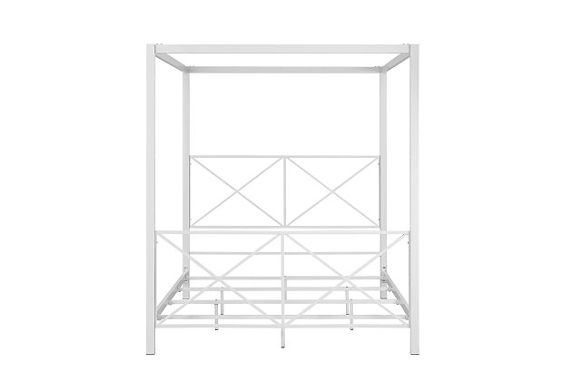 Atwater Living Reese Canopy Bed, Full, White, White, large