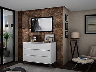 Modern Three Drawer Dresser, Ivory, rollover