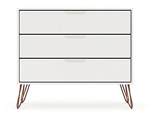 Modern Three Drawer Dresser, Ivory, large