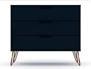 Modern Three Drawer Dresser, Blue, large