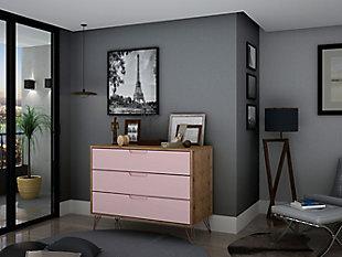 Modern Three Drawer Dresser, Pink, rollover
