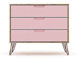 Modern Three Drawer Dresser, Pink, large
