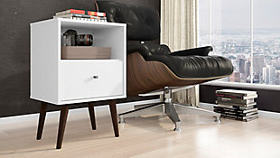 Liberty  Mid-Century One Drawer Nightstand, White, rollover