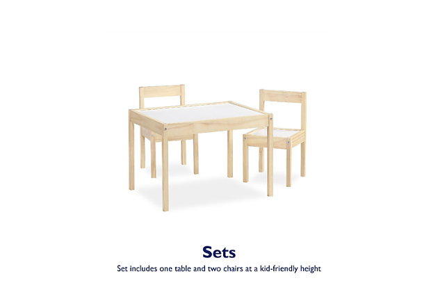 Baby Relax Percy 3-PC Kiddy Table and Chair Set, Natural/White, Natural, large