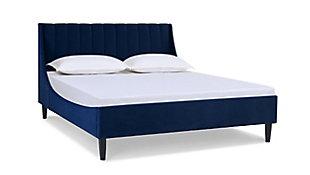 Aspen  Vertical Queen Tufted Platform Bed, Navy Blue, large