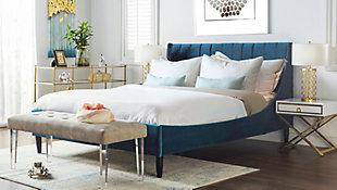 Aspen  Vertical Queen Tufted Modern Platform Bed, Teal Blue, large