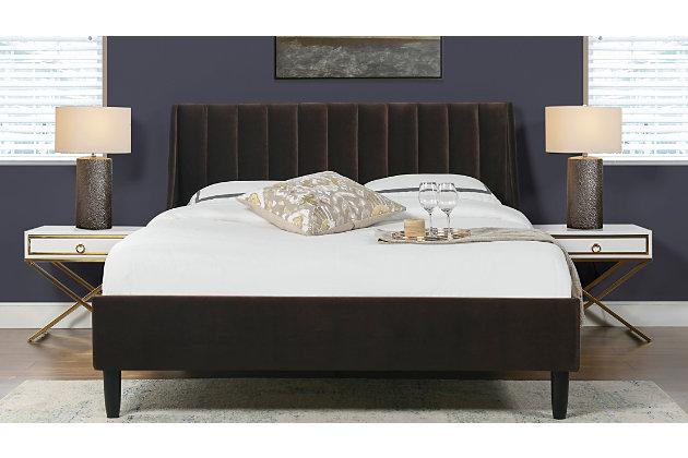 Aspen  Vertical Queen Tufted Modern Platform Bed, Deep Brown, large