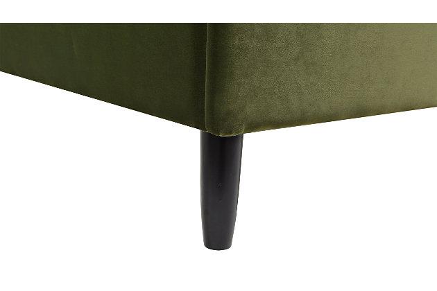 Aspen  Vertical Queen Tufted Modern Platform Bed, Olive Green, large