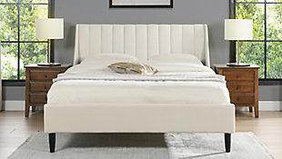 Aspen  Vertical Queen Tufted Modern Platform Bed, Cloud White, rollover