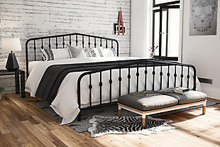 Bushwick King Metal Bed, Black, rollover
