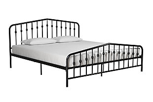 Bushwick King Metal Bed, Black, large