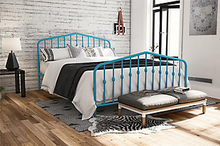 Bushwick  Queen Metal Bed, Blue, rollover
