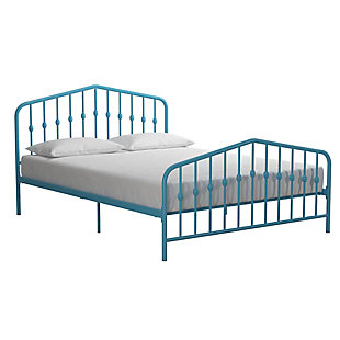 Bushwick  Queen Metal Bed, Blue, large