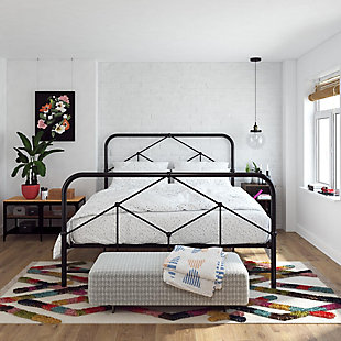 Francis  Farmhouse Queen Metal Bed, Black, rollover