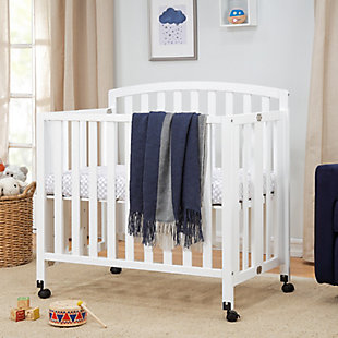 DaVinci Dylan Folding Portable 3-in-1 Mini Crib and Twin Bed, White, rollover
