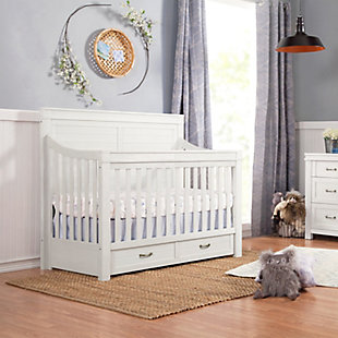 Million Dollar Baby Classic Wesley Farmhouse 4-in-1 Convertible Storage Crib, Heirloom White, rollover