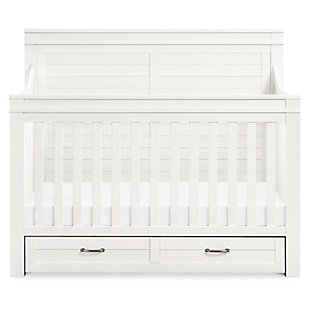 Million Dollar Baby Classic Wesley Farmhouse 4-in-1 Convertible Storage Crib, Heirloom White, large