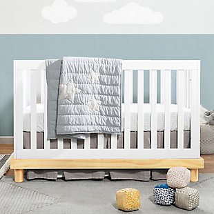 Babymod Olivia 3-in-1 Convertible Crib, White/Natural, rollover