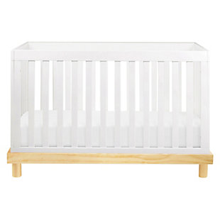 Babymod Olivia 3-in-1 Convertible Crib, White/Natural, large