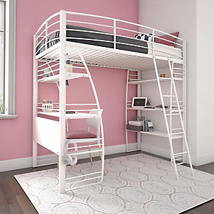 Atwater Living Lynn Twin Loft Bed with Integrated Desk and Shelves, White, , rollover