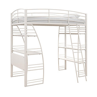 Atwater Living Lynn Twin Loft Bed with Integrated Desk and Shelves, White, , large