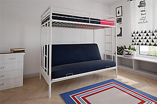 Atwater Living Metal Twin Over Futon Bunk Bed, White, White, rollover