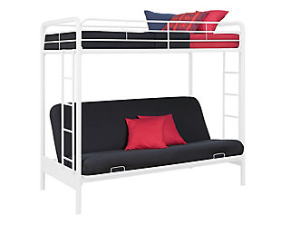 Atwater Living Metal Twin Over Futon Bunk Bed, White, White, large