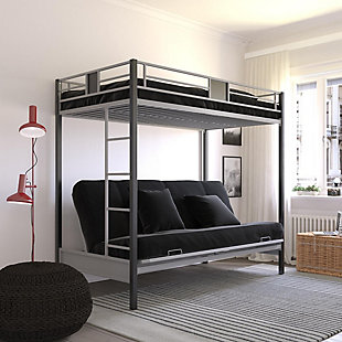 Atwater Living Reeta Twin over Futon Metal Bunk Bed, Silver/Black, , rollover
