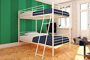 Atwater Living Jalan Twin over Twin Convertible Bunk Bed, White, White, rollover