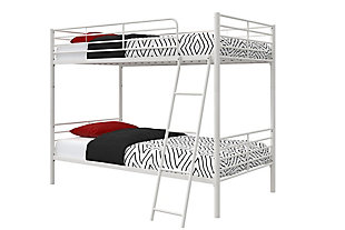 Atwater Living Jalan Twin over Twin Convertible Bunk Bed, White, White, large
