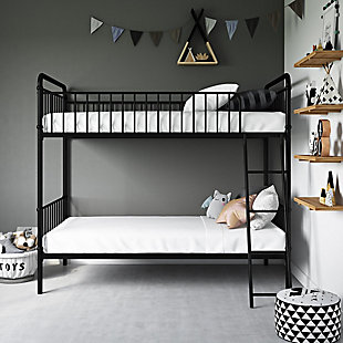 Atwater Living Kalvin Twin over Twin Metal Bunk Bed, Black, Black, rollover
