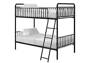 Atwater Living Kalvin Twin over Twin Metal Bunk Bed, Black, Black, large