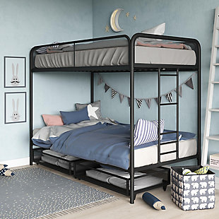 Atwater Living Cason Twin over Twin Bunk Bed with Storage, Black, , rollover