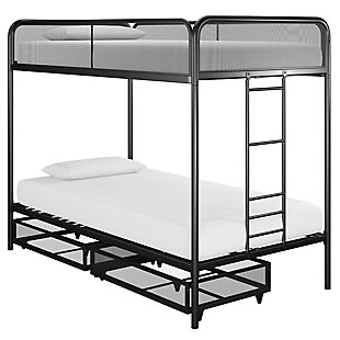 Atwater Living Cason Twin over Twin Bunk Bed with Storage, Black, , large