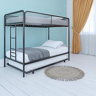 Atwater Living Elia Triple Twin Metal Bunk Bed, Black, Black, rollover