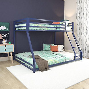 Atwater Living Mason Metal Twin over Full Bunk Bed, Blue, Blue, rollover