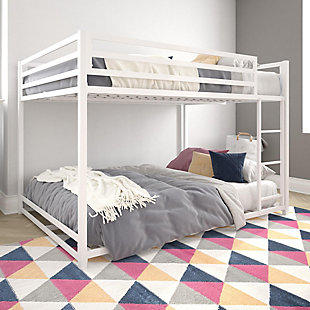 Atwater Living Mason Metal Full over Full Bunk Bed, White, White, rollover