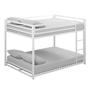 Atwater Living Mason Metal Full over Full Bunk Bed, White, White, large