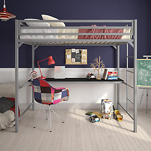 Atwater Living Mason Metal Twin Loft Bed with Desk, Silver, Silver, rollover