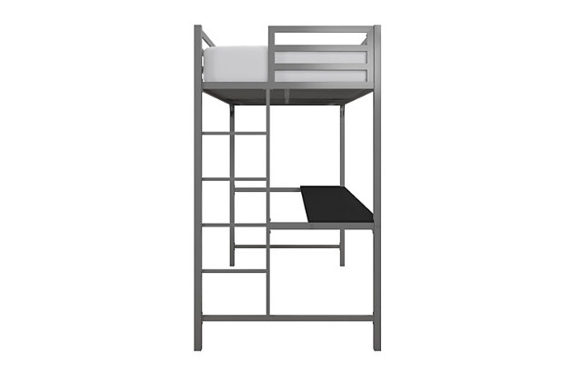 Atwater Living Mason Metal Twin Loft Bed with Desk, Silver, Silver, large