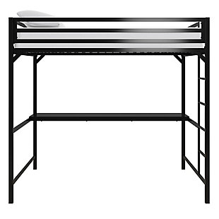 Atwater Living Mason Metal Full Loft Bed with Desk, Black, Black, large
