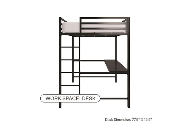 Atwater Living Mason Metal Full Loft Bed with Desk, Black, Black, large