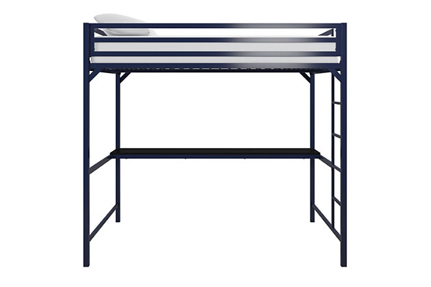 Atwater Living Mason Metal Full Loft Bed with Desk, Blue, Blue, large