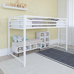 Atwater Living Mason Metal Junior Loft Bed, White, White, rollover